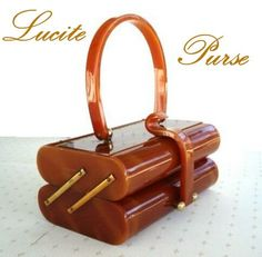 Vintage 1950's Lucite Tiered Style Marbled Butterscotch Purse -- Double Love the Color and Shape!!
