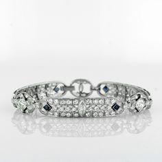 A Superb Art Deco Diamond and Sapphire Bracelet in Platinum