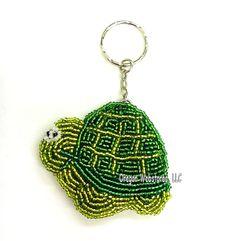Beaded Turtle Key Ring