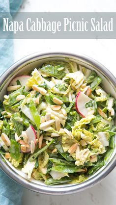 Perfect for a picnic potluck! With napa cabbage, radishes, snow peas, toasted almonds, and a creamy sesame mayo dressing. A real crowd pleaser! On SimplyRecipes.com