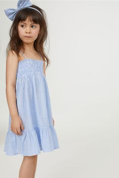 Cotton dress with smocking - Light blue/White striped - Kids 15 Dresses, Cotton Dresses, Blue Dresses, Girls Dresses, Summer Dresses, Kids Clothing Brands List, Little Girl Models, Cheap Kids Clothes, Chambray Dress
