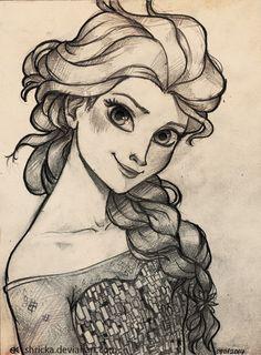 Elsa Frozen Fan Art Sketch | Frozen Elsa