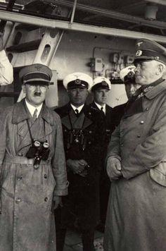 Adolf Hitler on board Prinz Eugen. (Looking quite happy with himself)