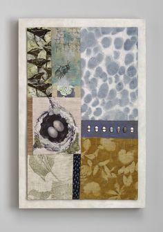 Mixed Media Textile Construction mounted on wood canvas. Original Fiber Art