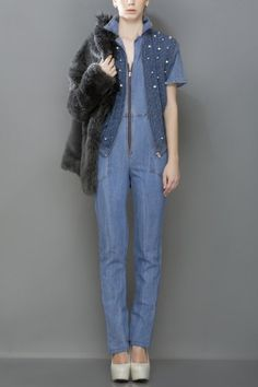Whirl denim collared jumpsuit worn with a without sleeve georgette bomber
