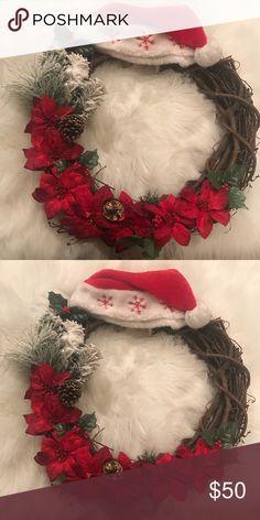 Christmas wreath Cute cristmas santa hat wreath Accessories