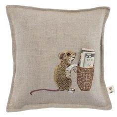 Mouse Tooth Fairy Pillow, Coral and Tusk $44