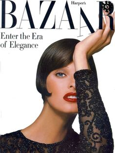 Linda Evangelista and Christy Turlington hands down were the supermodels that I adored in the and Kate Moss is waifishly cute. Naomi Campbell has the body and the walk. But Linda and Christy could look super modern on. Fashion Magazine Cover, Fashion Cover, Magazine Covers, Time Magazine, Big Fashion, Dark Fashion, Magazine Art, Trendy Fashion, Style Fashion