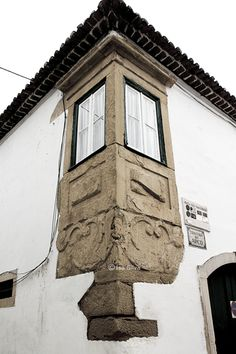 #window with a carved stone frame Tomar #Portugal