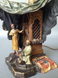 19 TH CENTURY AUSTRIAN COLD PAINTED ORIENTAL  BRONZE LAMP BY BERGMAN FRANZ picclick.com