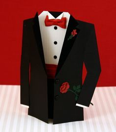 formal suit shaped card - love the bow tie!
