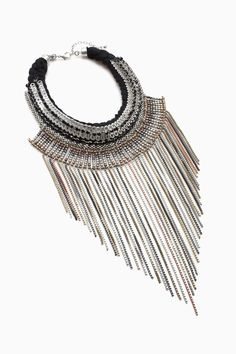 Braided Metal-Pleated Necklace - Back in Black | Adolfo Dominguez shop online