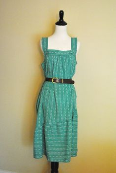 1970s Floral Tent Dress with Ruffle/ Green and White Sundress/ Size Large to Extra Large. $16.00, via Etsy.