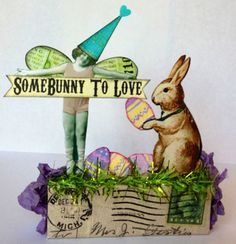 Fairy Bunny LOVE Easter Egg vtg Altered PostCard aRt Collage Mixed Media ooak