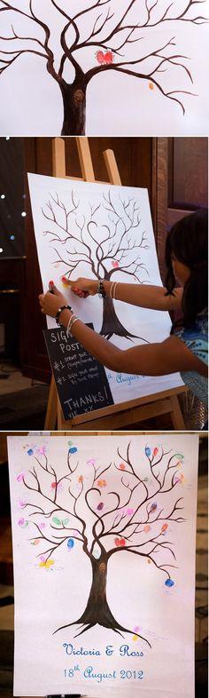 guest book ideas fingerprint tree alternative to wedding guest book rustic weddingook rustic wedding #guestbook #weddingideas