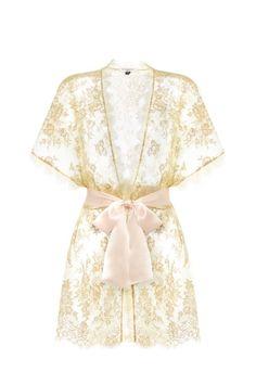 46871f3c16 Harlow Lace Short Kimono Blush Gold Our opulent gold lace kimono
