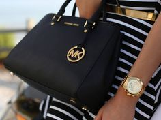It is so beautiful and fashion. We love it - Michael Kors Hamilton Medium Black Totes, Just $67.99. #NYFW #giftsforher | See more about michael kors hamilton, michael kors and totes.