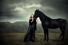 Her shadow by ~DarkVenusPersephonae on deviantART #photography #dark #black #dress #horse