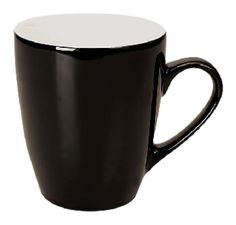 CALYPSO MUG  Price includes 1 color, 1 position print   2 Color imprint available for an additional charge  This stylish, tapered mug is for those looking for something a bit more fancy.  Available in many colours, including 2 tone variations.  Height: 105mm  Width: 90mm  Capacity: 350mm