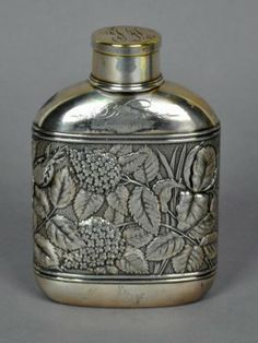 Silverplated Liquor Flask Flasks, Liquor, Whiskey, Barware, Nostalgia, Spirit, Antiques, Vintage, Design