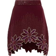 Rodarte Burgundy Hand Beaded Floral A-Line Skirt ($2,760) ❤ liked on Polyvore featuring skirts, mini skirts, high waisted a line skirt, floral print mini skirt, mini skirt, silk skirt and purple skirt