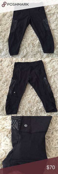 Lululemon pants Lululemon running cropped pants. Pockets on side and around the backside. Size 8. Excellent condition. Mesh panel that is shown in third pic. 4th pic shows pockets and seams. Fits right behind the knee/upper calf length. lululemon athletica Pants Ankle & Cropped