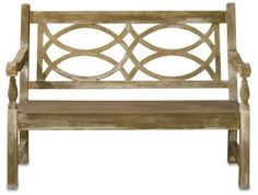 Hatfield Bench - Currey & Company Traditional English garden bench has a classic look, but the unusual appeal of concrete. It is the right size for many setting