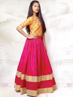 Shop Exclusive silk girls wedding wear magenta and yellow circular lehenga choli online from India. Lehenga Choli Designs, Lehenga Choli Online, Lehenga For Girls, Kids Lehenga, Indian Dresses, Indian Outfits, Raw Silk Lehenga, Net Lehenga, Girl Fashion