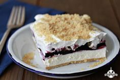 Blueberry Yum Yum - This layered dessert recipe is amazing! Cookie crust, cream cheese layer, blueberry pie filling and Cool Whip. You can even substitute any pie filling flavor.