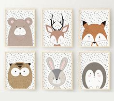 SPECIAL OFFER Set of 6 Woodland nursery decor, Woodland nursery prints, Woodland Nursery Print set,Woodland animals decor,Sandinavian Prints - Babyzimmer Ideen Space Themed Nursery, Nursery Themes, Nursery Wall Art, Diy Nursery Painting, Moon Nursery, Baby Motiv, Woodland Nursery Prints, Digital Wall, Animal Decor