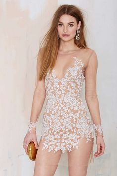 For Love & Lemons Luau Lace Mini Dress - White | Shop Clothes at Nasty Gal!