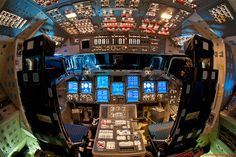 The Flight Deck of the Space Shuttle Endeavour, fully powered, is seen here for one of the final times.
