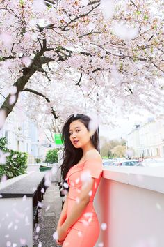 spring sakura cherry blossom fashion portrait asian beauty photo shoot london regents park peach dress cold shoulder