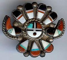 Zuni Sun God brooch, c. 1960s