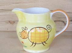 Yellow Pitcher Stylized Pig Hand Painted Indra Stoneware Thailand 20 oz