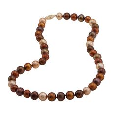 DaVonna 14k 9-10mm Chocolate- Freshwater Cultured Pearl Strand Necklace (16-36 inches) (18-inch) Women's