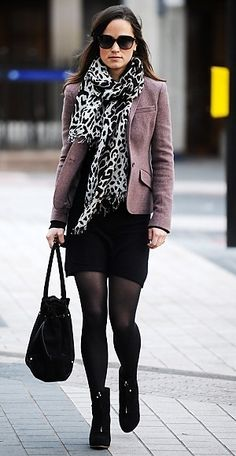 Pippa Middleton- blazer over dress and tights