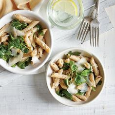 Penne with Ricotta and Greens Recipe   CookingLight.com