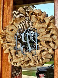 Custom Natural Burlap Monogram Vine Interlocking Wreath With Burlap Chevron Or Polkadot Bow on Etsy, $85.00