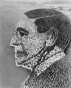 Woodrow Wilson portrait made of 21,000 soldiers at Camp Sherman, Chillicothe, Ohio (Jan 1918)