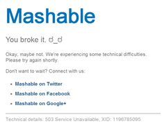 The surprisingly simple 404 page from mashable.com