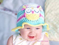 CROCHET HAT PATTERN  Fun in the sun Baby hat pattern Baby Owl ~ sizes 0-3 mos., 3-6 mos, 6-12 mos. ~ PURCHASED pattern - CROCHET