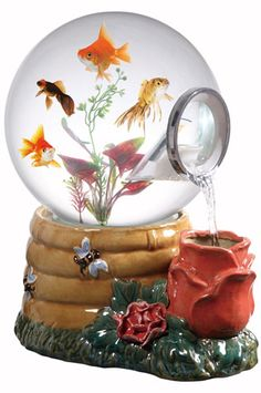 Magic Globe Honey Rose Aquarium - Snow Globe Aquarium with Waterfall Feature | COOL PET PRODUCT FOR FISH |  $125 > $69 on Amazon.com!!! | www.coolpetproducts.com