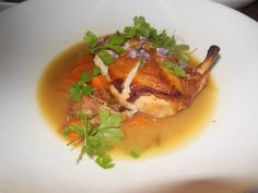 THIRTY ACRES, JERSEY CITY, NJ: Thirty Acres chicken with ribbons of carrots, ground sausage and fermented ramps. http://njmonthly.com/blogs/tablehopwithRosie/2013/8/14/restaurant-news.html#read_more