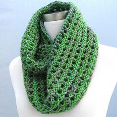 Chunky Green Purple Cowl, Wool Infinity Scarf, Hand Knit Accessory