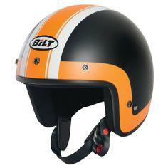 CUSTOM BILT Jet Cruiser Open-Face Motorcycle Helmet - MD, Orange/Black