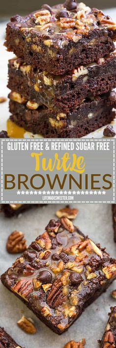 These Turtle Brownies taste completely indulgent while being secretly healthier, refined sugar free and gluten free. Best of all, this recipe is so easy to make and has all your favorite flavors of Turtles! Melt in your mouth and perfect for any fudgy brownie fans!