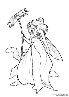 FAIRY COLORING PAGES  These coloring pages of fairies are from http://fairiesandfantasy.com/ a wonderful site that offers these and many other fairy coloring pages for free.