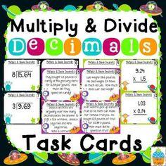 Multiply & Divide Decimals Task Cards {Alien Theme}