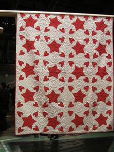 I LOVE this sweet old red and white quilt!